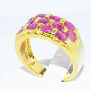 טבעת כסף 925 ציפוי זהב בשיבוץ 13 רובי 2.01 קרט מידה: 8.25