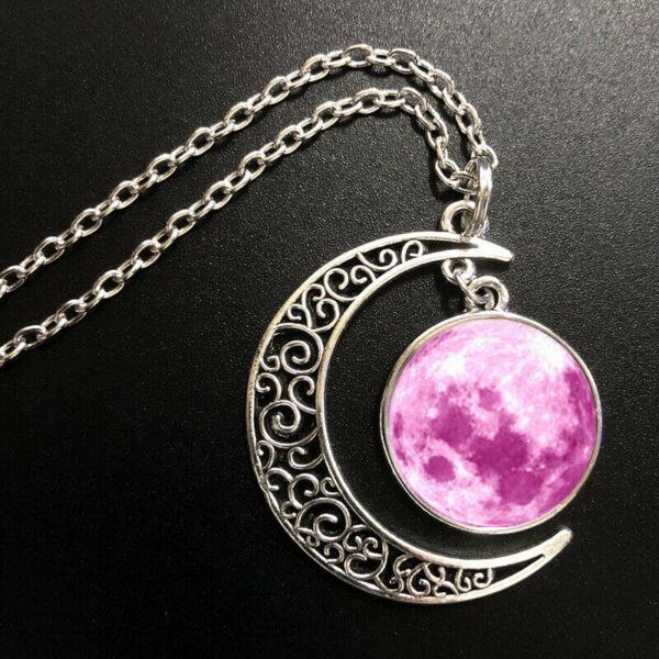 תליון ושרשרת ויקה מוכסף ירח מלא והשפעותיו גווני ורוד עיטור ירח