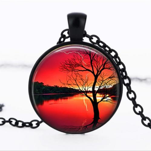 תליון ושרשרת מושחר עץ החיים הקבלי גווני אדום כתום