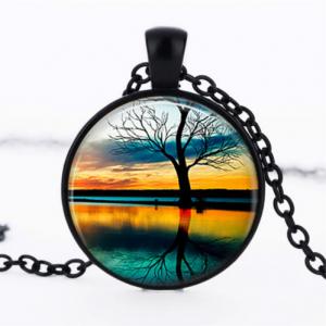 תליון ושרשרת מושחר עץ החיים הקבלי גווני כחול כתום