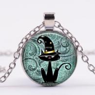 תליון ושרשרת מוכסף חתול בכובע מכשפה גווני ירוק טורקיז