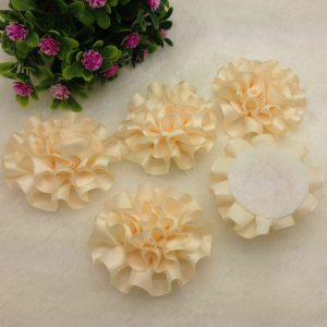3 פרחים לקישוט אריזה גוון שמנת זהוב
