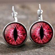 זוג עגילים מוכסף עין הדרקון גוון אדום ורוד