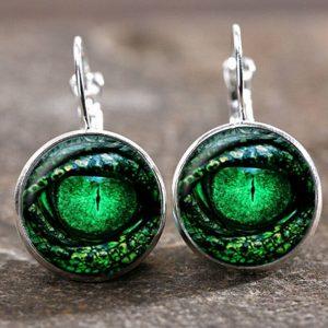 זוג עגילים מוכסף עין הדרקון גוון ירוק