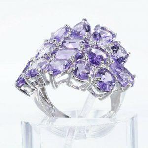 טבעת יוקרה כסף 925 בשיבוץ 16 אמטיסט 11.20 קרט מידה: 6.25
