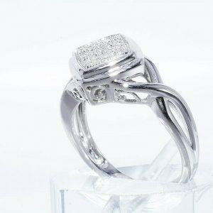 טבעת יוקרה כסף 925 בשיבוץ 17 יהלומים לבנים 06. קרט ניקיון: SI1 מידה: 7.25