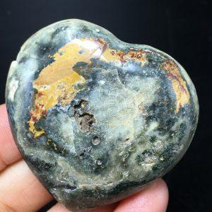 ג'ספר אוושן ליטוש לב גווני ירוק צהוב ולבן משקל: 49 גרם