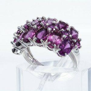 טבעת יוקרה כסף 925 בשיבוץ 19 גרנט רודולייט משקל: 4.20 קרט מידה: 6.25