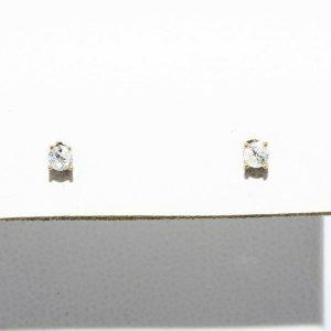 זוג עגילי זהב צהוב 14 קרט בשיבוץ יהלומים לבנים 08. קרט ניקיון יהלומים: I1