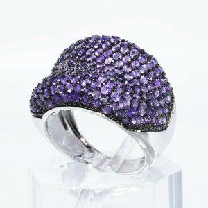 טבעת יוקרה כסף 925 בשיבוץ 210 אמטיסט משקל: 4.25 קרט מידה: 7.25