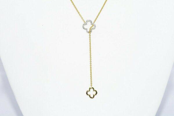 תכשיט יוקרה תליון ושרשרת מחובר כסף 925 בציפוי זהב בשיבוץ 18 יהלומים לבנים 12. קרט