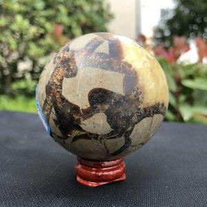 """כדור קלציט ספקטרום ומעמד עץ מסוגנן משקל: 323 גרם קוטר: 60 מ""""מ"""