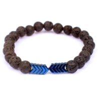 צמיד אבני בזלת שחור עיטור חץ כחול