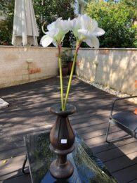"""אגרטל עץ מלא עבודת יד גובה: 46 ס""""מ קוטר: 15 ס""""מ"""
